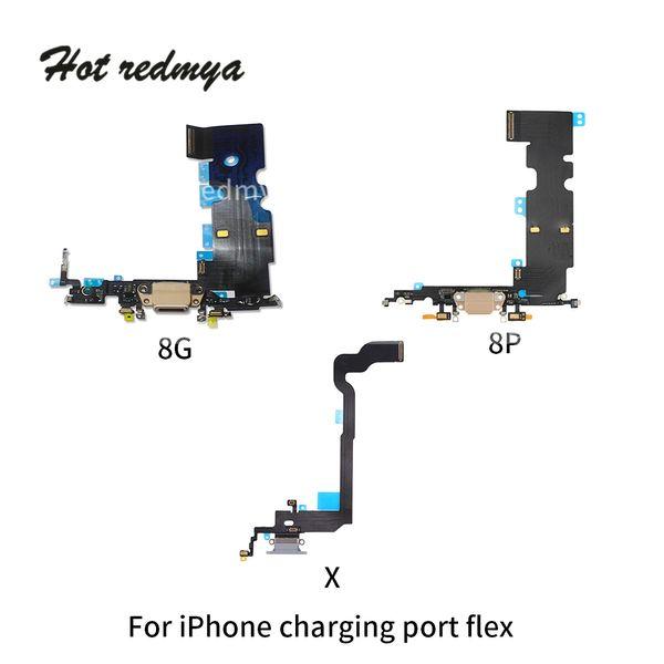 50 pz / lotto USB Dock Connettore Caricatore di Ricarica Porta Cuffie Audio Jack Mic Cavo Flex Per iPhone 4 4 s 5 5 s 6 6 s 7 8 Plus X DHL libero