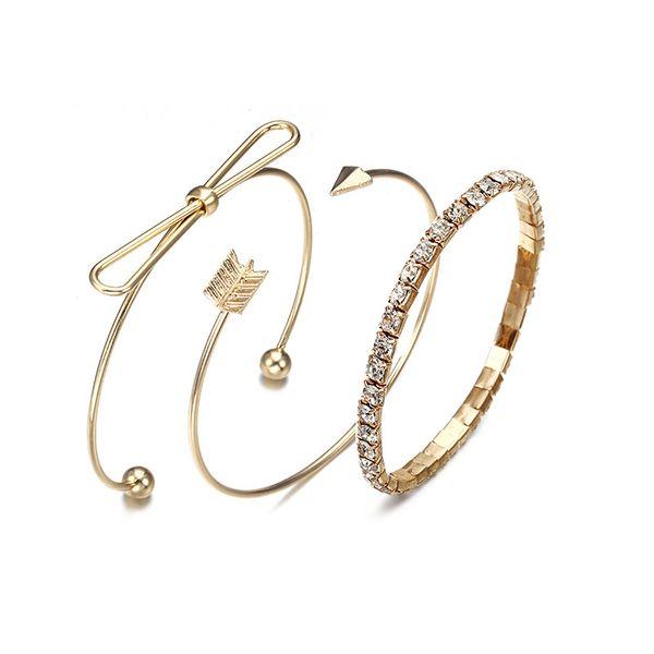 2018 New 3Pcs/Set Charm Women Bangle Gold Color Bohemia Arrow Bow Bracelets For Women Jewelry ns55