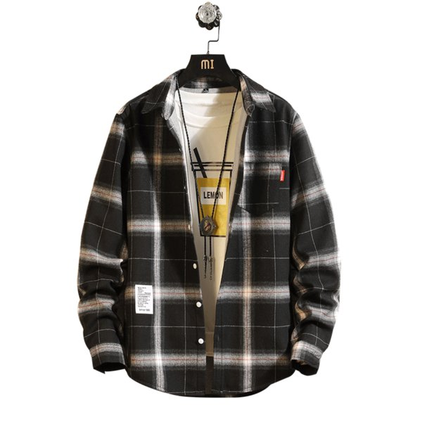 Classic Plaid Shirt & Double Color Stitching Casual Shirt Men's Winter Long Sleeve Button Men Knitted Thickening