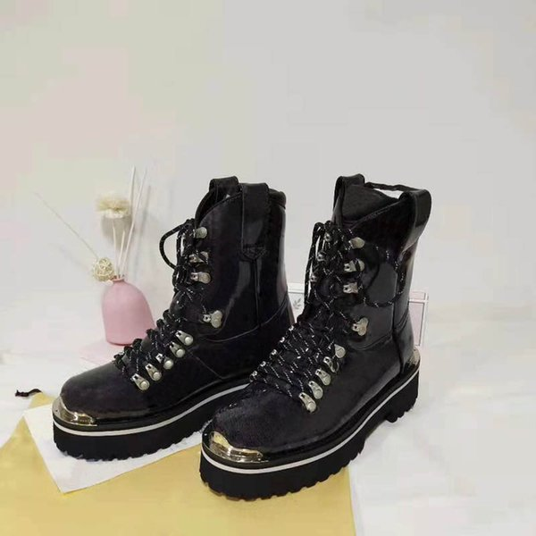 Leder Großhandel Von Stiefelette LookBranded Canvas Wxk20170802 Trail Star Boots41 Damen Zipper Lack Designer Lady Kultiger Schwarz Gummisohle Yvgbf7I6y