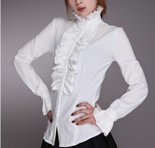 Women Lady Shirt Frilly Ruffle Tops Flounce Blouse Clothes Formal Work Party Long Sleeve White Black Shirts
