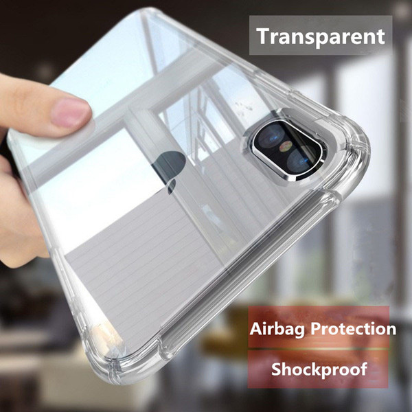 Phone Case For iPhone XS Max 6 6s 7 8 Plus X 5s Airbag Shockproof Design Transparent Soft TPU Silicone Cases Cover