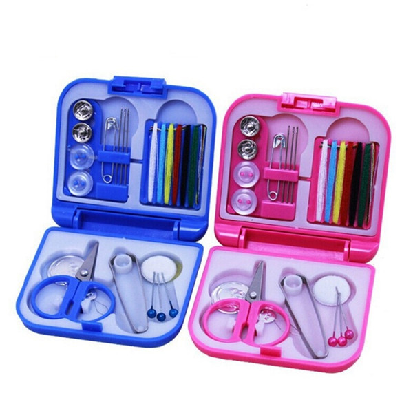 top popular Mini Sewing Box Suit Almighty Travel Portable Small Kit Needle Cotton Threads Scissor Thimble Home Craft Woodworking Tools 2 66tx bb 2021