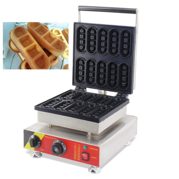 220V 110V Stainless Steel Non-Stick Mini Industrial Electric Waffle Fingers Shaped Makers Machine Waffel Sticks Baker Iron Pan Making Mould