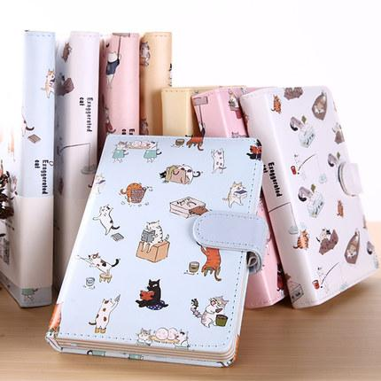 50K Diary Cat Magnetic Magnetic Cute Lovely Leather Color Page Notebook Personal Diary / Weekly Plan / Agenda Fashion Notepad