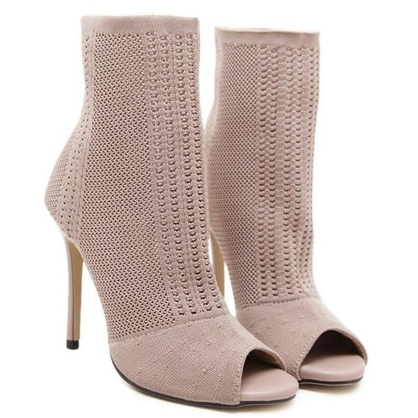 New Fashion Designer Women Ankle Boots Stretch Knit High Heels Sexy Stiletto Pumps Sandals Sock Bootie Shoes Woman