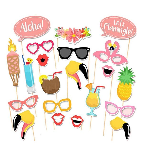 21pcs Flamingo Hawaii Themed Summer Party Photo Booth Props Kit DIY Luau Party Supplies For Holiday Wedding Beach Party