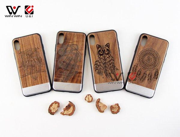 Горячий продавать металл дерево сотовый телефон case для iPhone x 8plus 7plus 6 s custom design мобильный задняя крышка полный ТПУ резиновая защита Оптовая