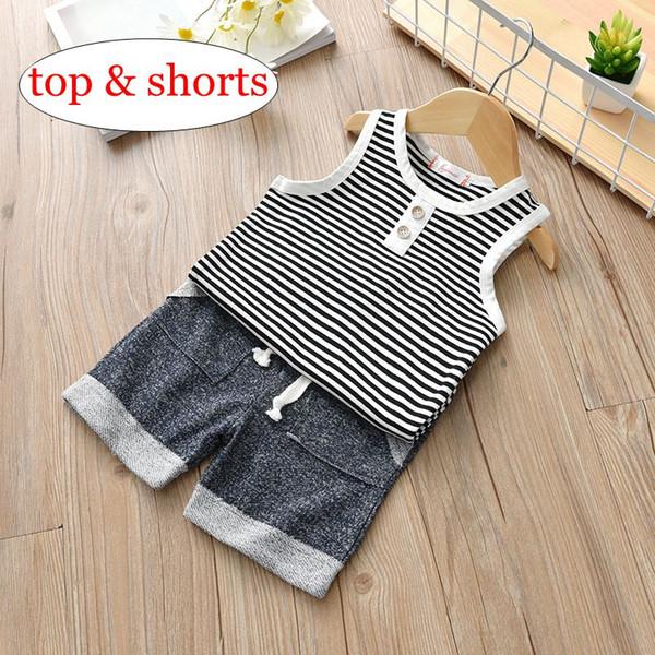 INS Sommer Baby Boy Kleidung Set Baumwolle Weste Sleeveless T-Shirt Tops + Kurze Hosen 2pcs Infant Jungen Outfits Striped Button Jungen Kleidung Sets