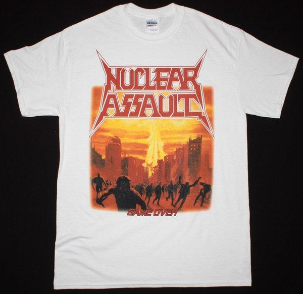 NUCLEAR ASSAULT GAME OVER S.O.D. ANTHRAX HIRAX MEGADETH NEW WHITE T-SHIRT T Shirt for Men/Boy Short Sleeve Cool Tees
