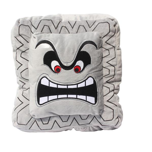 "Hot Sale New 9'' 23cm / 11"" 30cm Cushion Pillow Thwomp Dossun Super Mario Plush Doll For Children Gift"