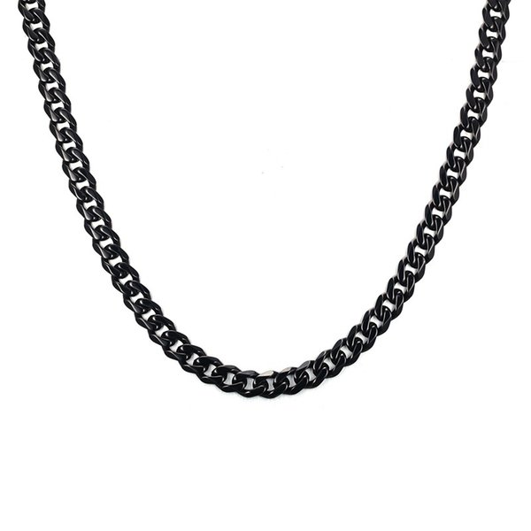 Wholesale Fashion Mens Cuban Chain 7MM Wide 24/30 inch Black Stainless Steel Cuban Link Necklace For Men Women