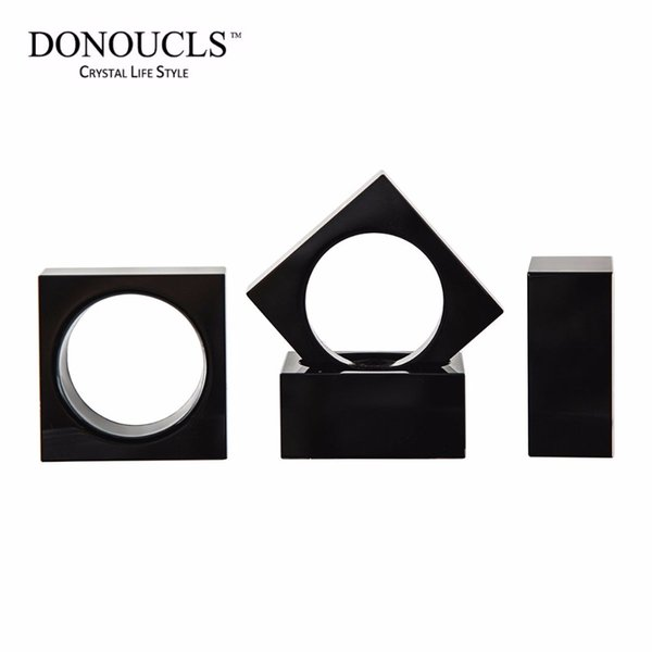 Donoucls Pack of 4 Crystal Napkin Ring Black Square Napkin Holders-5.1cm,Table Party Wedding Set Christmas Decorations For Home