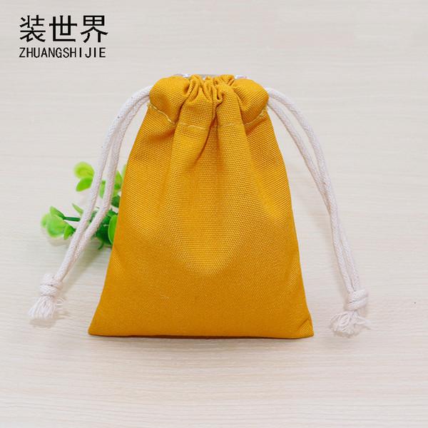 5 teile / los 9,5 cm * 15 cm 10 unze Baumwolle Canvas Pouch Großhandel Benutzerdefinierte Logo Gedruckt Kordelzug Taschen Verpackung Taschen