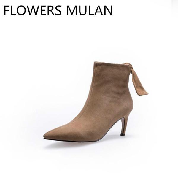 Bottes hautes en daim noires brunes noires pour femmes élégantes bout pointu mode dames bottines retour papillon-noeud chaussures femme