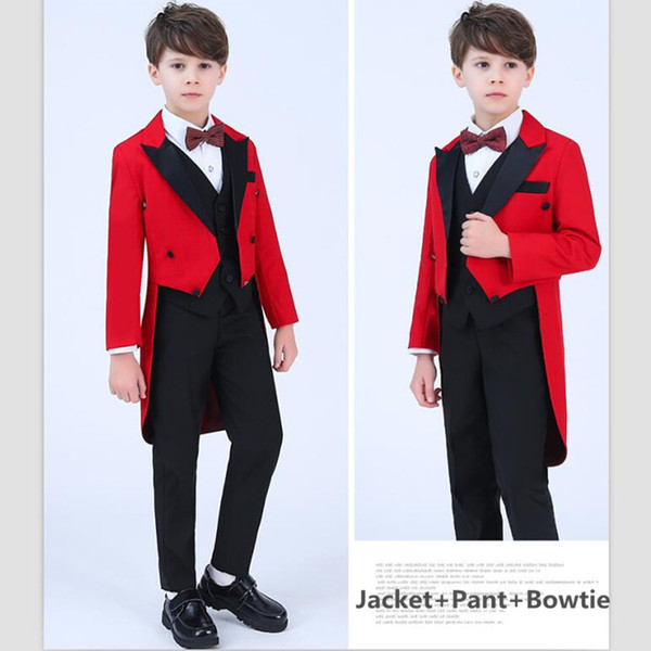 2018 Elegant Red Children Tuxedos Suits Boys Kids Blazer Boy's Formal Wear For Wedding Boys Clothes Set With Bowtie (Jacket+Pant+Bow-tie)