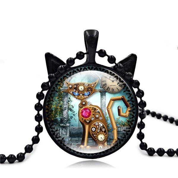 2018 new retro mechanical cat watch time gem necklace black cat pendant sweater chain jewelry for women men kids Jewelry Gift
