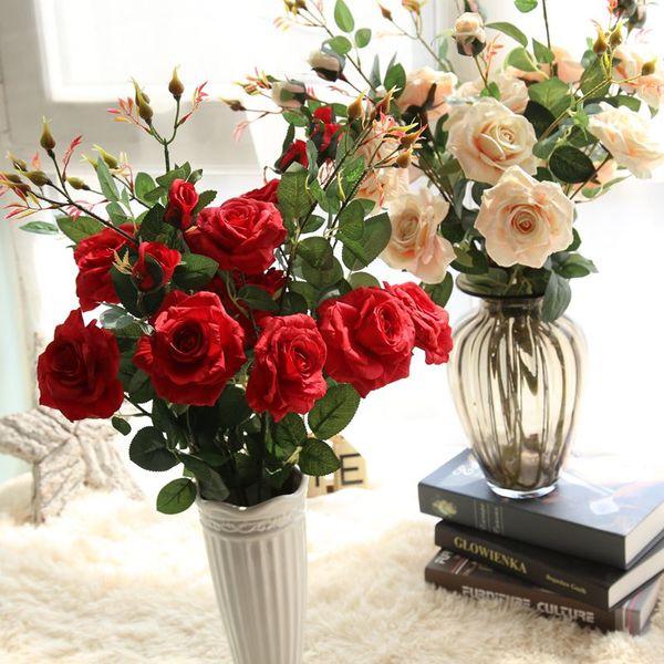 3 Cabezas Ramo de Seda Té Rosa de Alta Calidad Artificial Flor de La Boda Ramo de Flores Decorativo para el Hogar Decoración de la Habitación