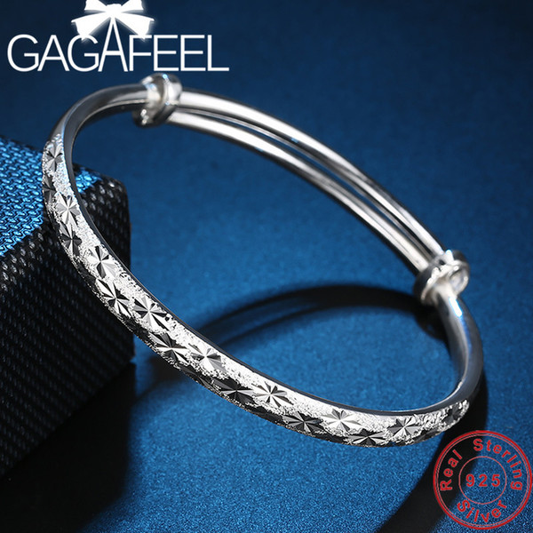 GAGAFEEL 100% Genuine 999 Sterling Silver Bracelets for Women Female Drop Ship Anniversary Bangle 31g