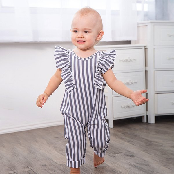 Baby Girls Stripe Ruffle Jumpsuits 2018 Infant Boutique Abbigliamento Euro America Toddlers Neonate Stripe Body