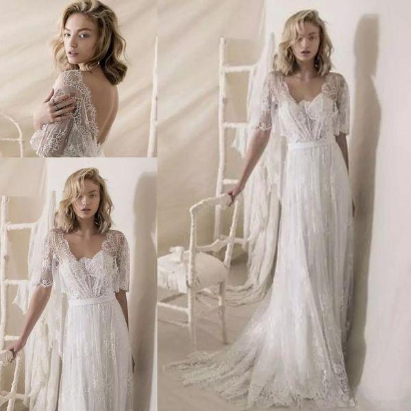 1950er Jahre Lace Brautkleider 2019 Lihi Hod Lace Wrap Vintage Low Back böhmischen Land Brautkleider Sweep Zug billig