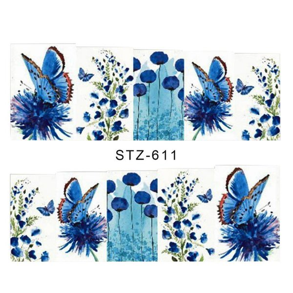 1pcs DTY Nail Sticker Watercolor Feather Butterfly Bee Flower Nail Art Tattoos Nails Sticker