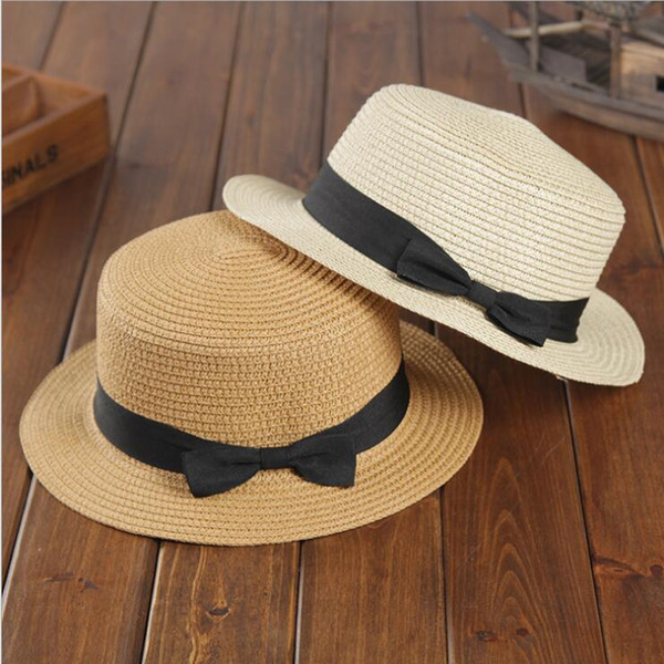 Korean version of the summer hat ladies bow flat along the sunscreen straw hat outdoor flat top foldable sunshade hat