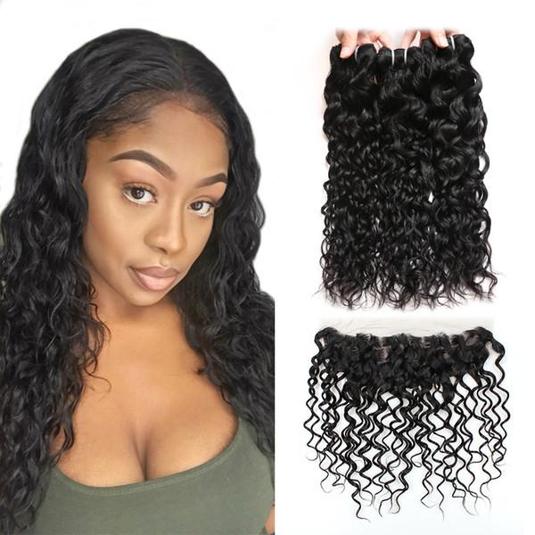 Extensions de cheveux vierges vague de cheveux Ishow Bundles de cheveux humains avec fermeture en gros pas cher 8A cheveux brésiliens 3 Bundles avec dentelle frontale