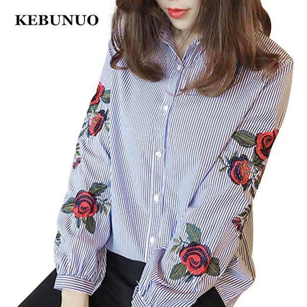 Women Blouses Ladies Floral Embroidery Blouse Autumn Long Sleeve Fashion Casual Shirt Women Camisas Femininas Womens Tops White