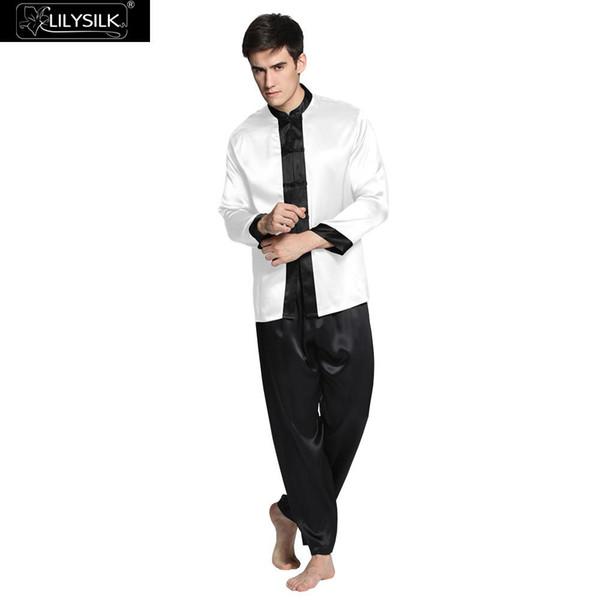 c2ecaf6495 Lilysilk Nightwear Pure Silk Long Pajamas For Men Sleep Lounge 22 Momme  Long Sleeve Couple Exotic Buttons Luxury Sleepwear Brand UK 2019 From  Hongzhang