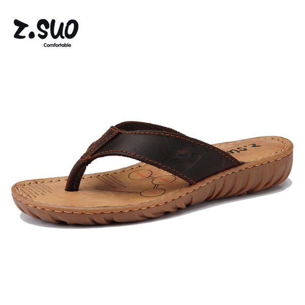 Women's Slippers Ladies Wedges Flip Flops Beach Shoes Cowhide Slippers Cow Muscle Outsole Summer Sandals Size 35-39