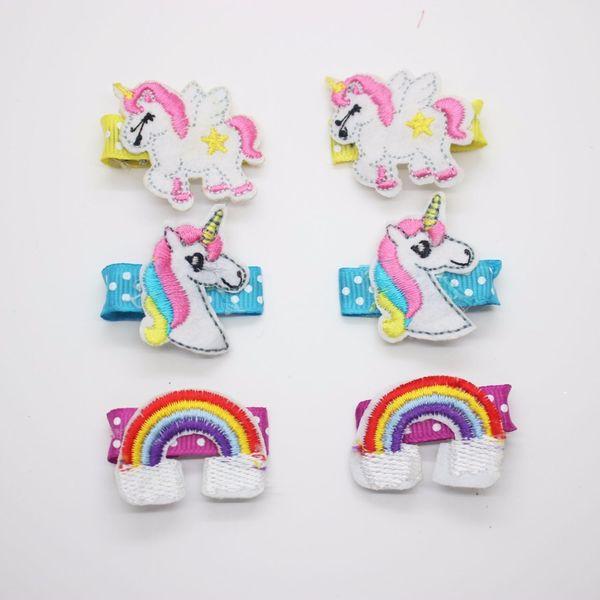 Wholesale cute cartoon hairpins unicorn party animals hair clips metal 3cm alligator clips hair accessories for little girls