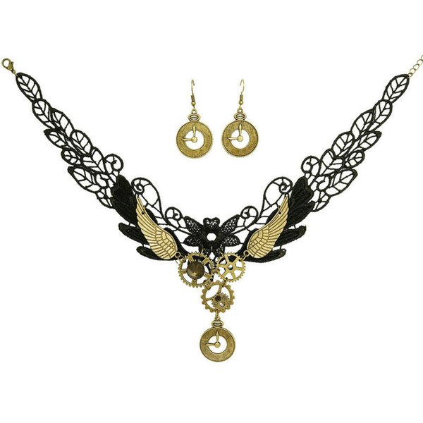 New Retro Necklace Earrings jewelry set clock lace gear necklace female earrings set European and American
