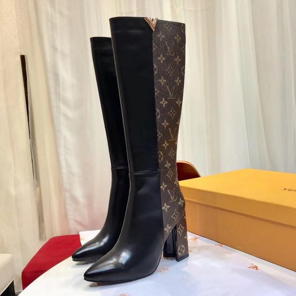 Bottes au genou pour femme Hiver 2018, nouvelle mode en cuir véritable V Cuisse sexy à talon haut, bottes 9,5 cm, fermeture à glissière, bottes droites