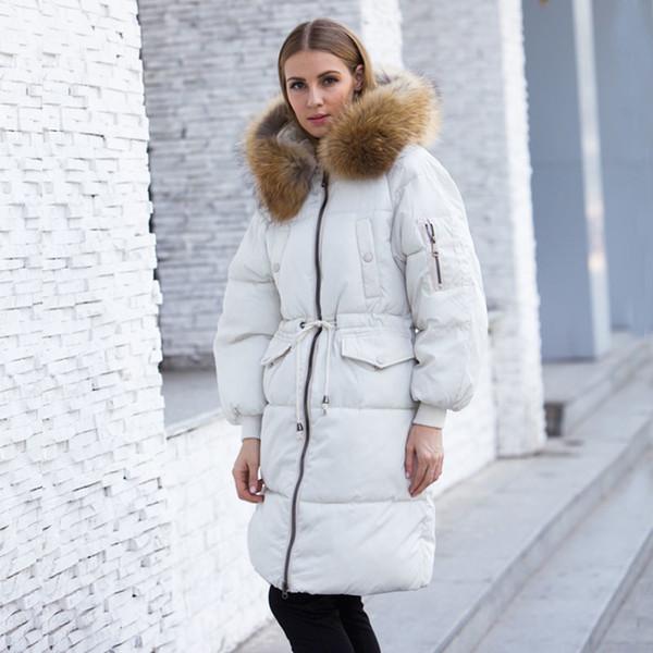 the latest 34f38 cca12 Acquista Giacca Invernale Donna 2018 Parka Donna Con Grande Vera Pelliccia  Di Procione Con Cappuccio Cappotti E Giacche Spessa Caldo Parka Outwear ...