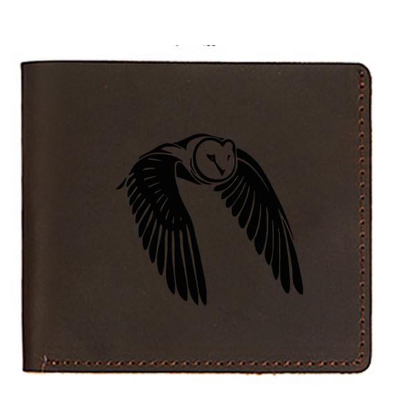 Gravierte Fliegende Eule Vogel Männer Geldbörsen Dünne Dünne Geldbörsen Haspe Desgin Karte Geldhalter Tasche Echtes Leder Männer Mini Geldbörsen