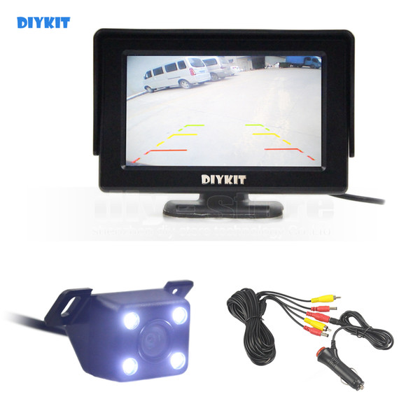 best selling DIYKIT Wlred 4.3 Inch TFT LCD Car Monitor + LED Night Vision Rear View Car Camera Parking Assistance System Ki