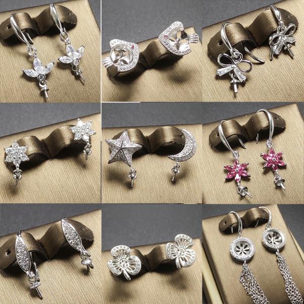 top popular Fashion Pearl Earrings Settings Zircon Solid 925 Silver Stud Earrings for Women DIY Pearl Ring Mounting Earrings Blank DIY Jewelry Gift 2019