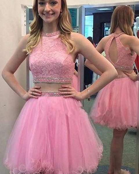 Two Piece Short Homecoming Dresses Cheap 2018 Blush Pink Color Lace Beaded Crystals Sequin Piping Ball Gown Prom Party Dress For Sweet 16