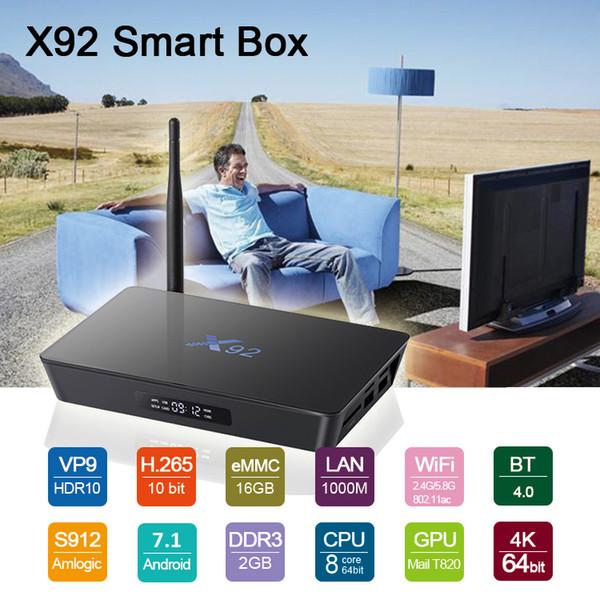 2018 Octa Core S912 TV Box X92 2G 16G Películas gratis Reproductor de medios Reproductor de medios Dual AC WIFI Gigabit Lan BT4.0 venta caliente Android 7.1 Cajas de TV