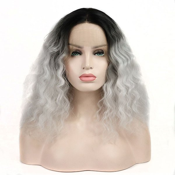 Ombre Grey Curly Synthetic Lace Front Wigs Gray Black Roots Short Bob Wavy Synthetic Lace Wig Heat Resistant Fiber Cosplay Wigs For Women