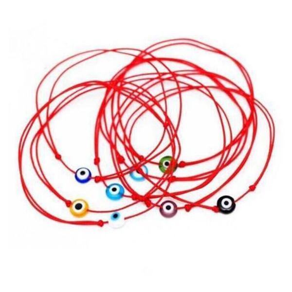 HOT Fashion Multicolor evil eye bead 10pcs/lot KABBALAH HAND Made Red String Bracelet Kabala Good Luck Bracelet For Women Gift A2