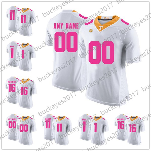 Custom Tennessee Volunteers 2018 Mother Days Pink Jerseys NCAA College Football White Stitched Any Name Any Number Manning Kamara S-3XL