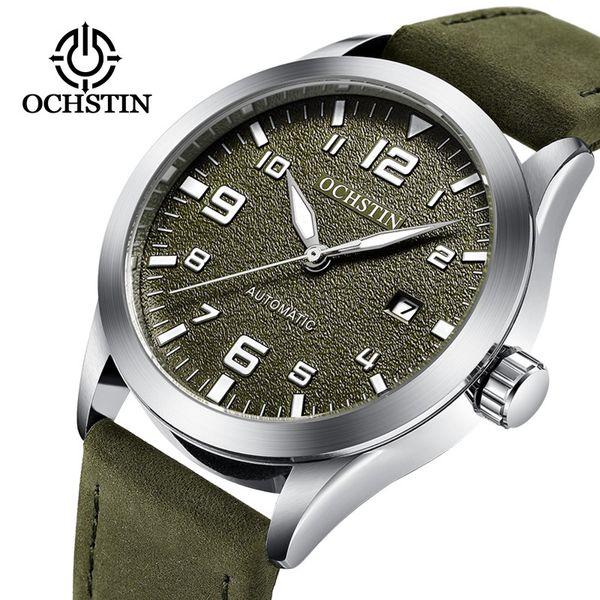 OCHSTIN Automatic Mechanical Mens Watch Top Brand Luxury Sport Army Wristwatch Genuine Leather Skeleton Male Clock 2028