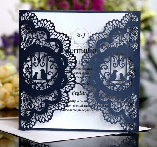 Wedding Invitation Cards 2018 Free Shipping Personalized Laser Cut Flower Navy Blue Hollow Party Card Printable With Ribbon Envelope