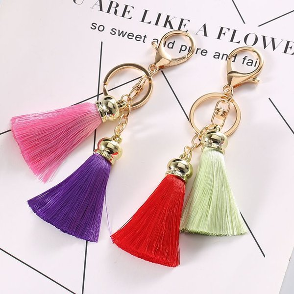 2018 Buy From China rayon tassel car key chain fashion bag pendant accessories mobile phone accessories wholesale