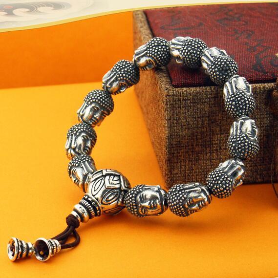 100% 999 Argento Sakyamuni Buddha Statue perline Bracciale tibetano testa di Buddha braccialetto di perline da polso Mala