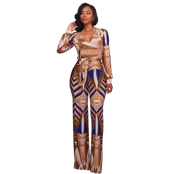 wholesale Autumn Jumpsuits Long Pants For Women Vintage Printed Fitness Long Sleeve Boho Playsuits Sexy Club Rompers Overalls