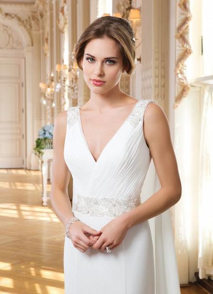 Abiti da sposa in chiffon avorio con scollo a V aperto indietro abiti da sposa perline scollatura a pieghe corpetto vestido de noiva