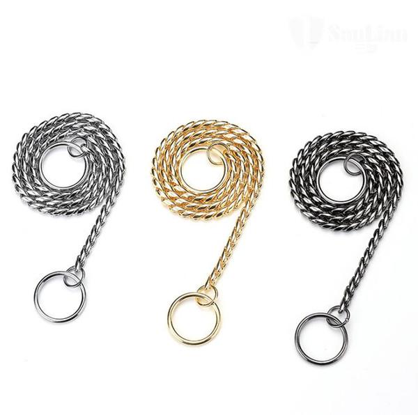 Snake Chain Dog Show Collar Heavy Metal Chain Dog Walking Training Choke Collar Strong Basic Leashes SN2180
